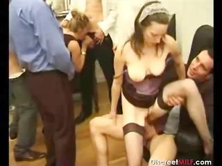 Group of men on one mature slut