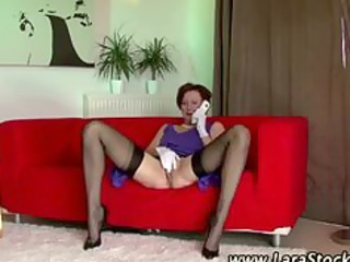 European lesbian in stockings licks mature pussy