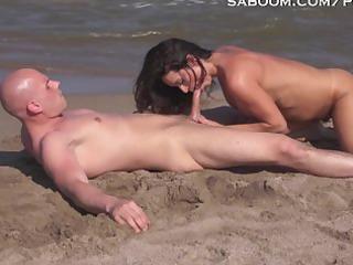 Latina Milf Fucks and Squirts on Nude Beach