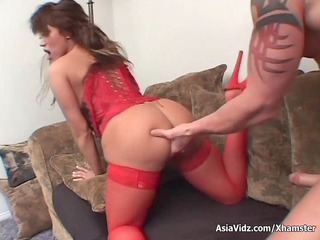 Huge titted Asian pornstar in hot red lingerie