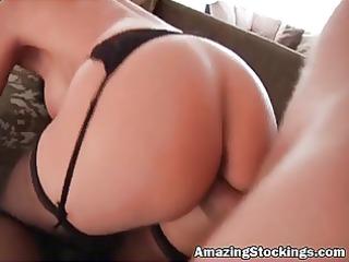 Hot MILF in black stockings naild hard -