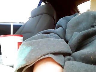 My chubby wife in car