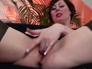 Mature european babe in stockings gets fucked and