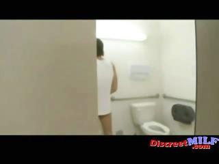 Desperate MILF Fucked in Public Toilet