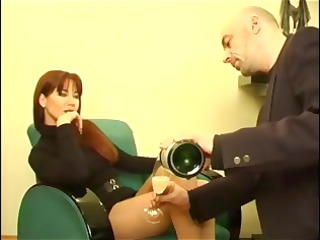 Perfect red-haired milf in sexy dress gets