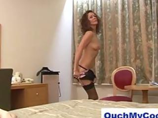 Horny mature lady gives cheeky guy a harsh handjob