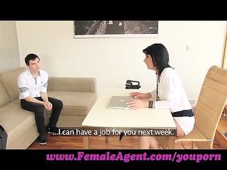 FemaleAgent. MILF casts young, nervous stud
