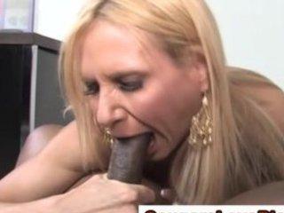 Mature interracial slut gets a cumshot
