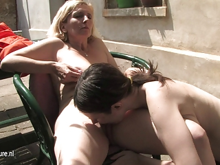 Young hairy lesbian daughter fucks a mature cunt