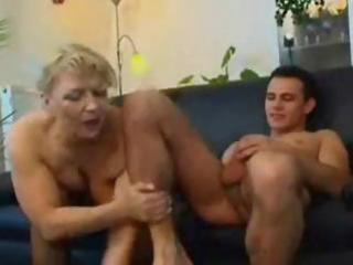 Mature blonde Russian mature eats his cock and