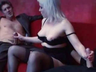Blonde mature whore gets double penetration by