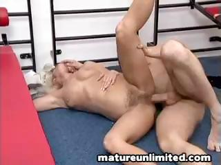 Blonde granny gets fucked hard all over the room