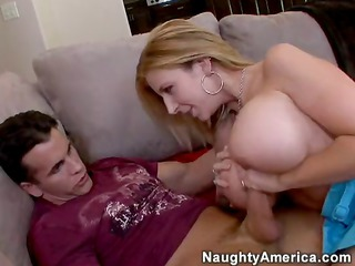 Blonde MILF Sara Jay has huge tits and a desire