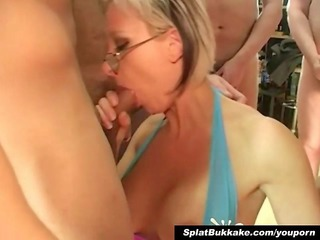 British blonde milf bukkake party