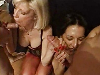 Foursome Fucking Fun with Hot and Hairy MILF Babes