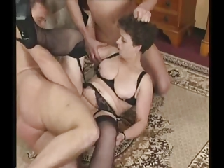 Mature Milf in Stockings Tries Three Cocks