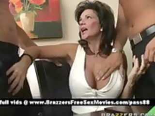 Mature busty brunette slut at a meeting