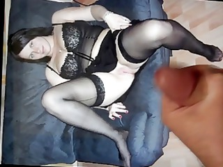 Cum tribute for a MILF in dark lingerie