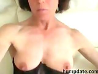 Hot mature wife gives blowjob and masturbates