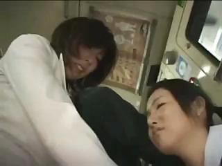 Asian mom and daughter are fucked on a public bus