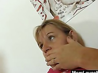Two moms tantalise strap on fake cock