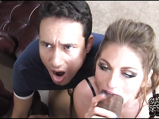 Cuckold watching his slut wife breeding by black