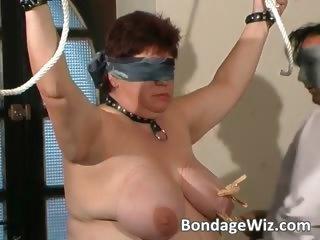 Tied up fat mature slut enjoying part4