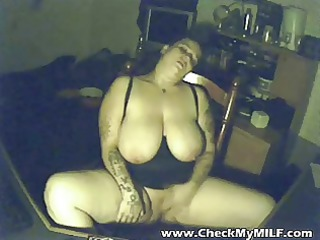 Busty BBW amateur MILF masturbating on camera
