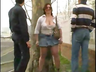 Mature French doll with big boobies does two guys