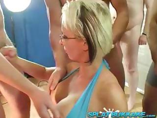 British milf Tracy Venus bukkake