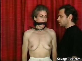 Kinky MILF is sex slave in weird bondage part5