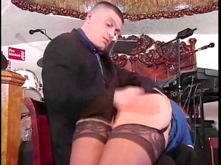 Slut in stockings gets ass spanked