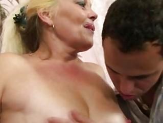 Blonde granny gets her pussy slammed