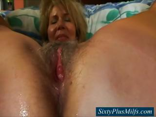 Granny pussy gets some cream filling