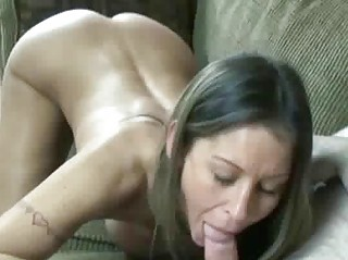 Petite and busty wife Leeanna swallows a cock