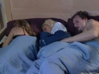 Mom sleeps and boyfriend play whit his daughter