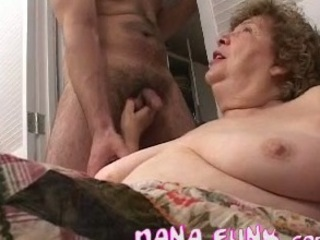 Hot granny sucking young white cock