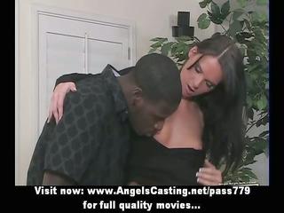 Long hair brunette girl having interracial sex