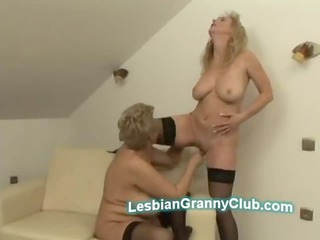 Horny big boobs granny fingerfucks hot stocking
