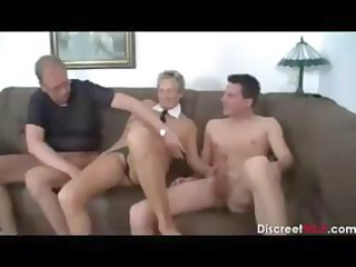 Horny amateur mature German bitch sucking and