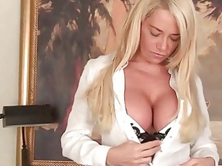 Mega breasted MILF lady teasing in sexy lingerie