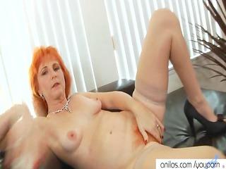 Redhead mom dildos hairy pussy