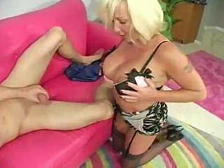 Hot Mature Busty Blonde Cougar Licks Ass