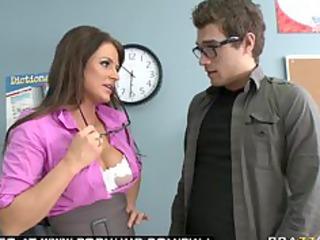 BIG TIT BRUNETTE MILF PORNSTAR TEACHER BLOWS HER