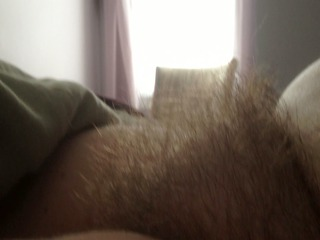 real close shot of the wifes hairy pussy.
