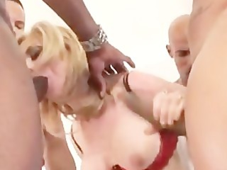 Nina Hartley takes black cocks in every hole