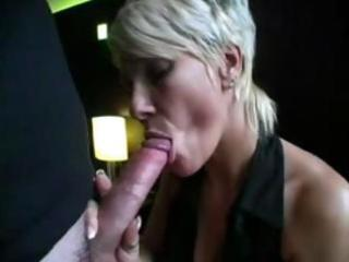 Blonde milf sucks on a long cock and then gets