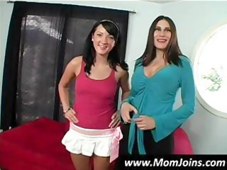 Sexy brunette mom and daughter team Shelia Marie