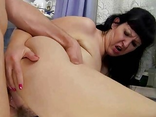 Busty chubby grandma fucking with young guy