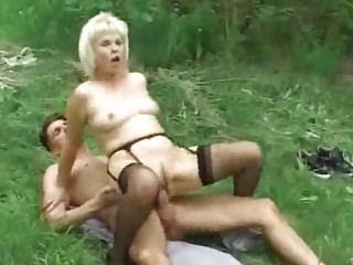 Blonde Granny outdoor